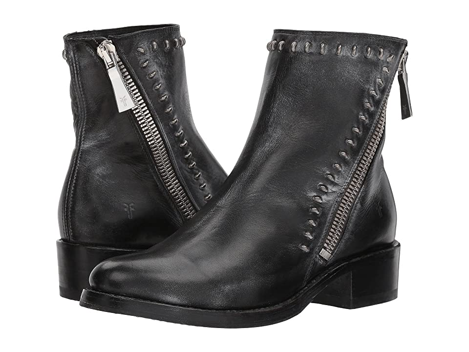 Frye Demi Rebel Zip Bootie (Black Waxed Full Grain) Women