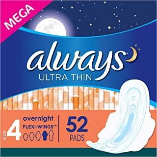 Always Ultra Thin Feminine Pads for Women, Size 4, Overnight Absorbency, Unscented, with Wings, 52 Count - Pack of 3 (156 Count Total)