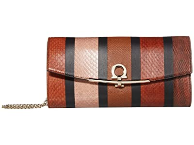 Salvatore Ferragamo Gancio Clip Patchwork Wallet on Chain (Dark Vicuna/Cumin/Caramel Spuntato) Wallet Handbags