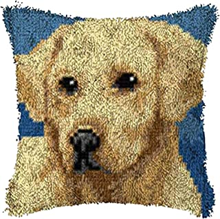Dog Embroidery Kits Latch Hook Cushion Kit Pillowcase Sewing Making Kits DIY Crochet Yarn Kits Cross Stitch for Beginners ...