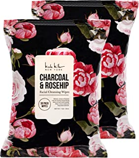 Nicole Miller 2 Pack (30 Count Each) Charcoal And Rosehip Facial Cleansing And Make Up Remover Wipes