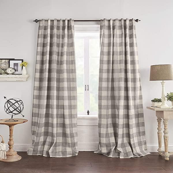 Elrene Home Fashions Grainger Buffalo Check Blackout Window Curtain Panel 52 X 84 1 Gray
