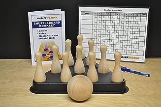 ZieglerWorld Table Shuffleboard Bowling Brown Pins - Pinsetter - Rules Booklet - Score Chart - Carrier Bag & Wood Ball