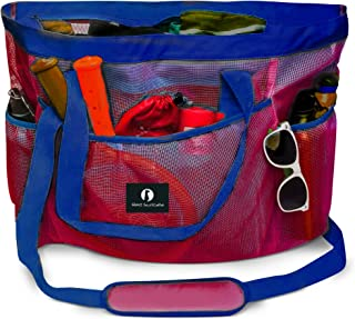 Red Suricata Large Mesh Beach Bag Tote with Zippered Top | Waterproof Inside Pocket & 7 Large Elastic Outside Mesh Pockets | for Toys, Picnic, Pool, Market, Groceries (Red/Blue)