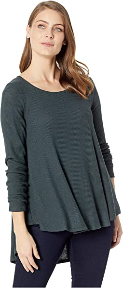 Brushed Rib Pleat Back Long Sleeve Tunic