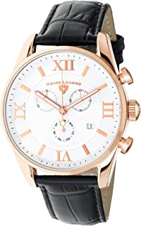 Swiss Legend Men's Belleza Analog Swiss Quartz Watch White Dial and Rose Gold Stainless Steel Case with Black Leather Strap 22011-RG-02-BLK