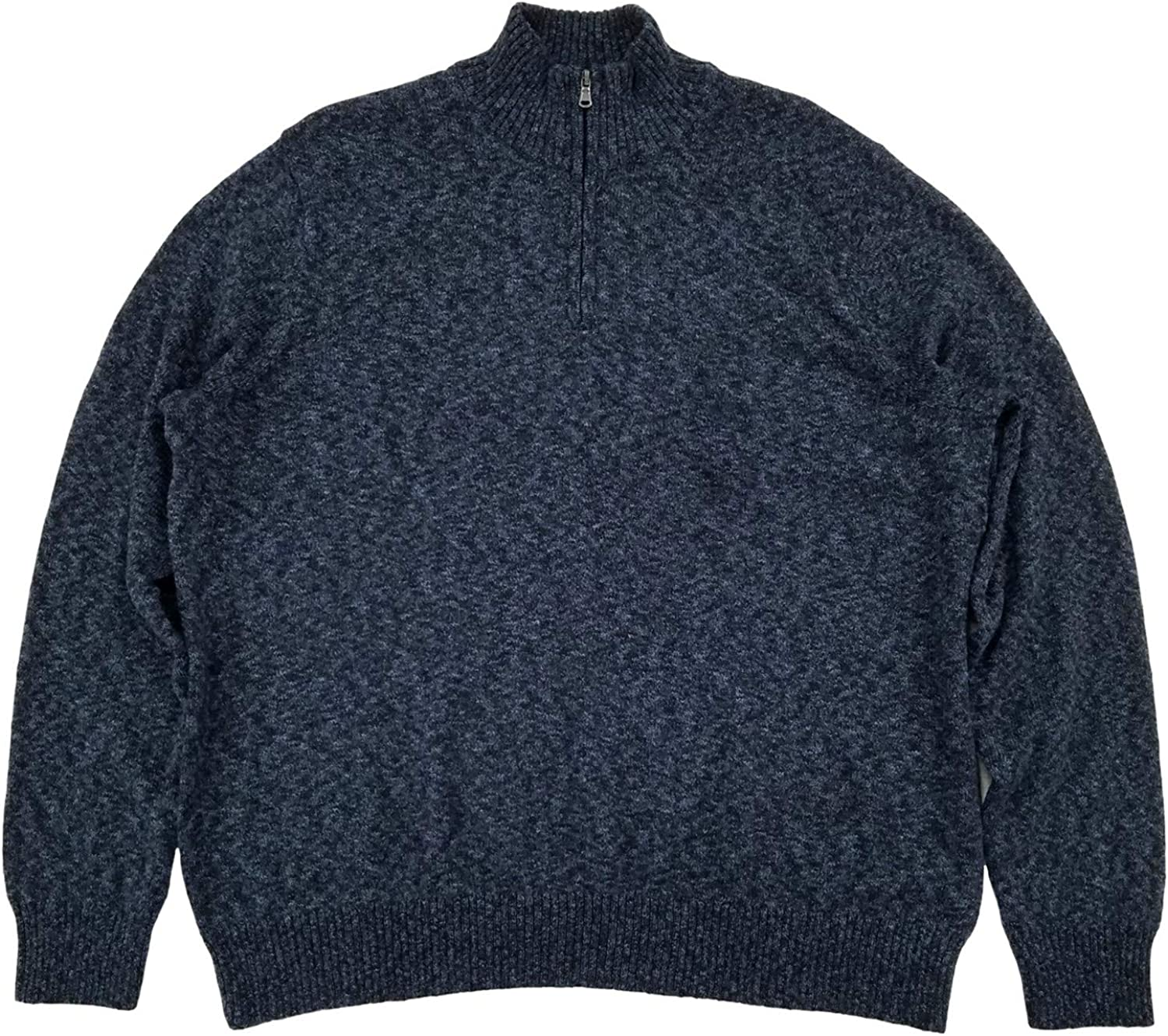 Mens Blue Heather Extra Soft Quarter Zip Sweater Pullover Top