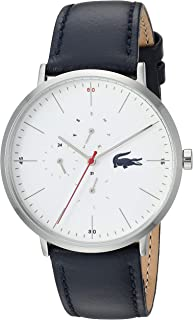 Lacoste Stainless Steel Quartz Watch with Leather Strap, Blue, 20 (Model: 2010975)