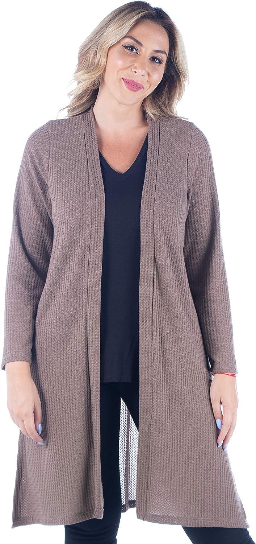24seven Comfort Apparel Waffle Fabric Long Sleeve Knee Length Plus Size Cardigan