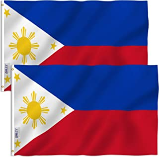 Anley Fly Breeze 3x5 Foot Philippines Flag - Vivid Color and UV Fade Resistant - Canvas Header and Double Stitched - Filipino Philippine National Flags Polyester with Brass Grommets 3 X 5 Ft (2 Pack)