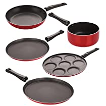 Nirlon Non-Stick Coated Stain Resistance Best Quality Cooking Essential Combo Set, 5 Piece