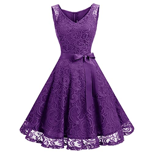 Purple Floral Short Dress
