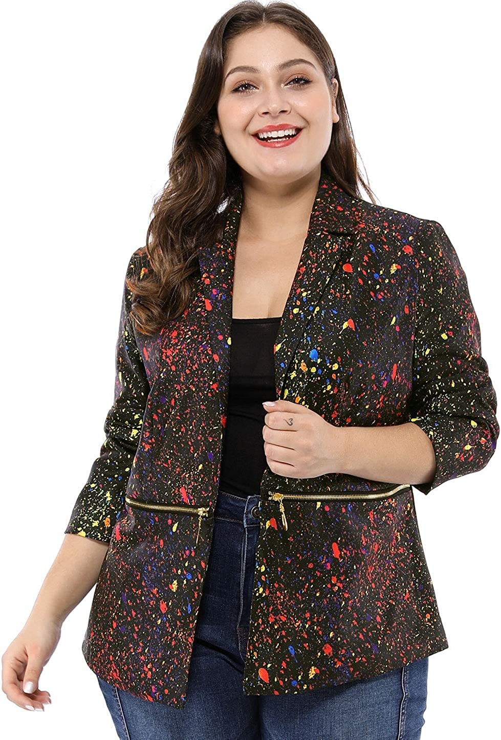 Max 57% OFF uxcell Women's Plus Inexpensive Size Bomber Paint Jackets B Printed Splatter