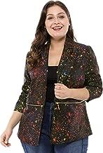 uxcell Women's Plus Size Zipper Long Sleeve Paint Splatter Printed Blazer