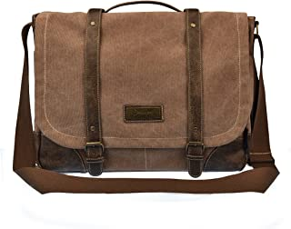 Vintage Canvas Messenger Bag for Men and Women Crossbody Computer Bag Brown 261