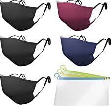 Pack of 5 Reusable Face Mask Cotton Covering for Adult 3 Layers + BONUS 3 Silicone Bags 3 ply Face Mask Breathable Adjusta...