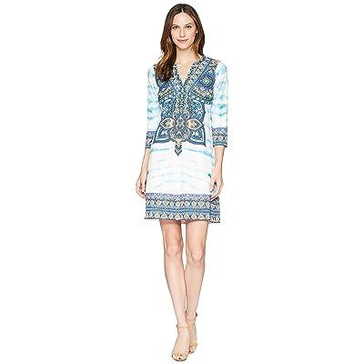 Hale Bob The Great Escape Matte Microfiber Jersey Dress (Blue) Women