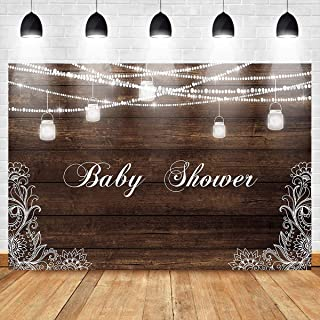 Mocsicka Baby Shower Backdrop Mason Jars Wood Photography Background 7X5ft Vinyl Rustic Wood Baby Shower Party Banner