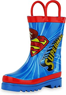 DC Comics Kids Boys' Superman Character Printed Waterproof Easy-On Rubber Rain Boots (Toddler/Little Kids)