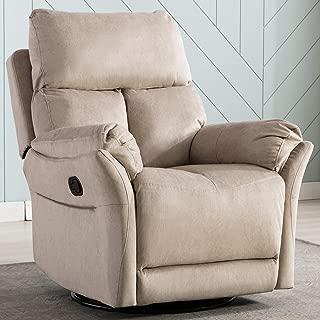 ANJ Swivel Rocker Recliner Chair - Reclining Chair Manual, Single Modern Sofa Home Theater Seating for Living Room, Buff