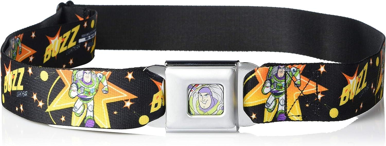 Buckle-Down Belt Seatbelt Buckle Toy Story Buzz Lightyear Running Stars Black Orange Yellow Mens Womens Kids Adjustable