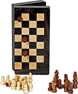 Travel Magnetic Folding Black Stained Wood Chess Set