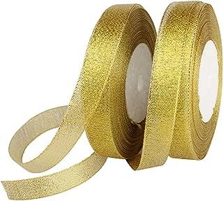 Feyarl Glitter Metallic Gold Ribbon 5/8-inch Wide Sparkly Fabric Ribbon Gift Crafters Sewing Ribbon Wedding Party Brithday Wrap Card Making Ribbon Hair Bows Floral Projects Ribbon (Gold)