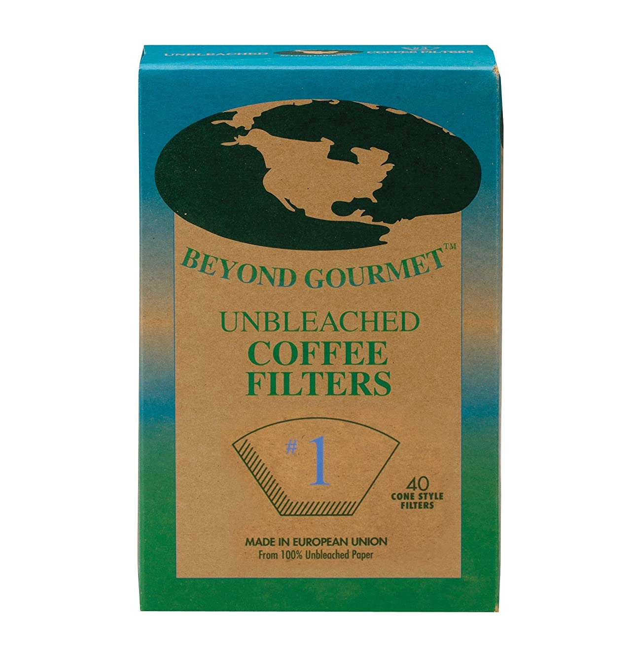 Beyond Gourmet Unbleached Coffee Filter, Size Number-1, Unbleached Paper, Made in Sweden, Brews 1 to 2 Cups, Box of 40 lwbnstjojbaot59