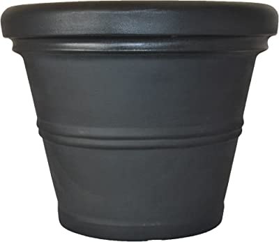 Tusco Products RR245BK Rolled Rim Garden Planter, Black