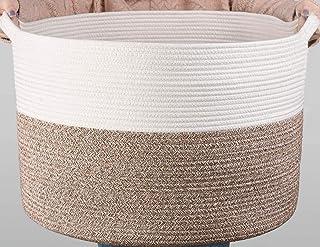 "Haundry XXXL Large Cotton Rope Basket 21.7"" x 21.7"" x 13.8"" Woven Baby Laundry Blanket Basket Toy Basket with Handle Stora..."