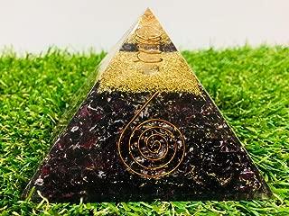 PYOR Garnet Orgone Gemstone Pyramid Aura Cleansing EMF Protection Copper Spring Reiki Healing Crystal Cleansing Energy Generator Size 3-3.5 Inch