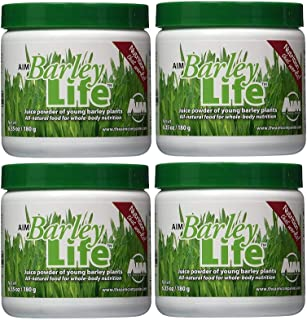 AIM BarleyLife Traditional Juice Powder of Young Barley Plants and All Natural Food for Whole Body Nutrition 4 Pack