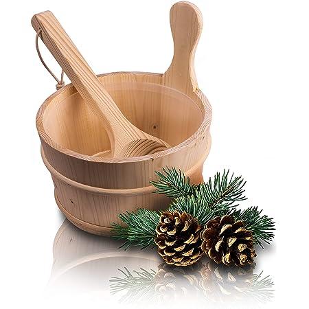 CozyNature Seau de sauna avec louche en bois de pin finlandais de haute qualité | accessoires de sauna, seau de sauna, seau à infusion | seau en plastique inclus - 4 litres