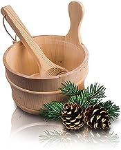 CozyNature Seau de sauna avec louche en bois de pin finlandais de haute qualité | accessoires de sauna, seau de sauna, sea...