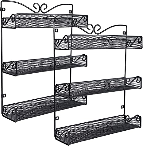 Wall Mounted Spice Rack Cupboard Pantry Kitchen Large Hanging Spice Rack 5 Tier Black Amazon De Home Kitchen