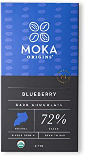 Moka Origins Blueberry Chocolate | Bean-to-Bar, Direct Trade, Organic, Vegan, Non-GMO, Kosher, Gluten Free | 2.4oz