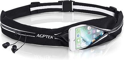 Cintura da Corsa per Uomo e Donna, AGPTEK Marsupio Running Impermeabile con Doppia Tasca e Cinghie Riflettenti per Smartphone fino a 7 Pollici