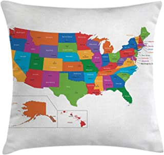 Ambesonne Wanderlust Throw Pillow Cushion Cover, Colorful USA Map with States and Capital Cities Washington Florida Indiana Print, Decorative Square Accent Pillow Case, 20
