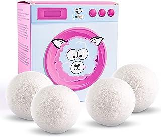 LoFelt Trocknerbälle für Wäschetrockner - Natürlicher Weichspüler - für Daunenjacken geeignet - Daunen Trockner - 100% Schafwolle - schneller trocken 4 Stück, Filz, weiß