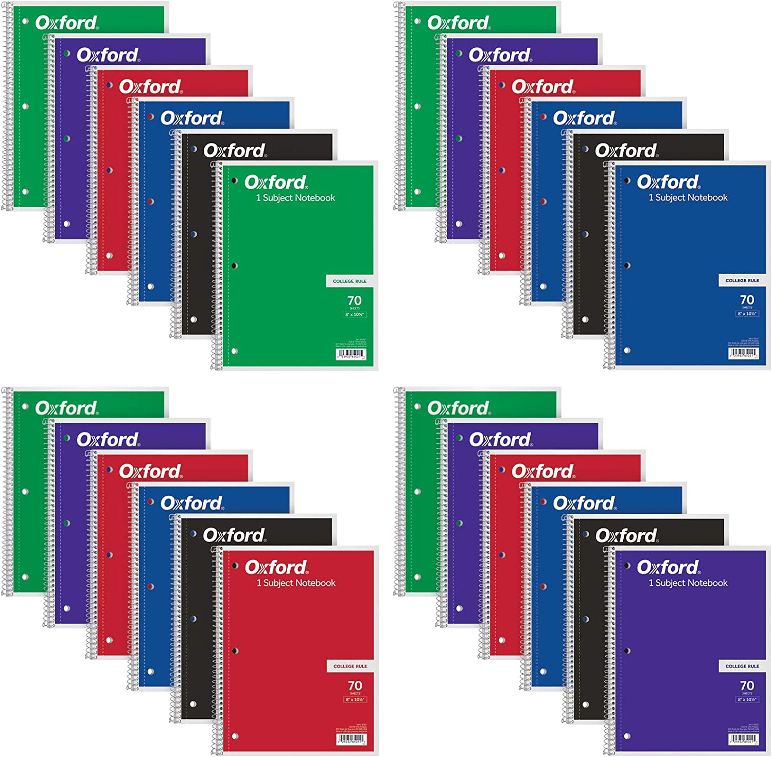 Oxford Spiral Notebooks 1-Subject Cheap mail order specialty store College Paper Shee Ruled 70 Ranking TOP9