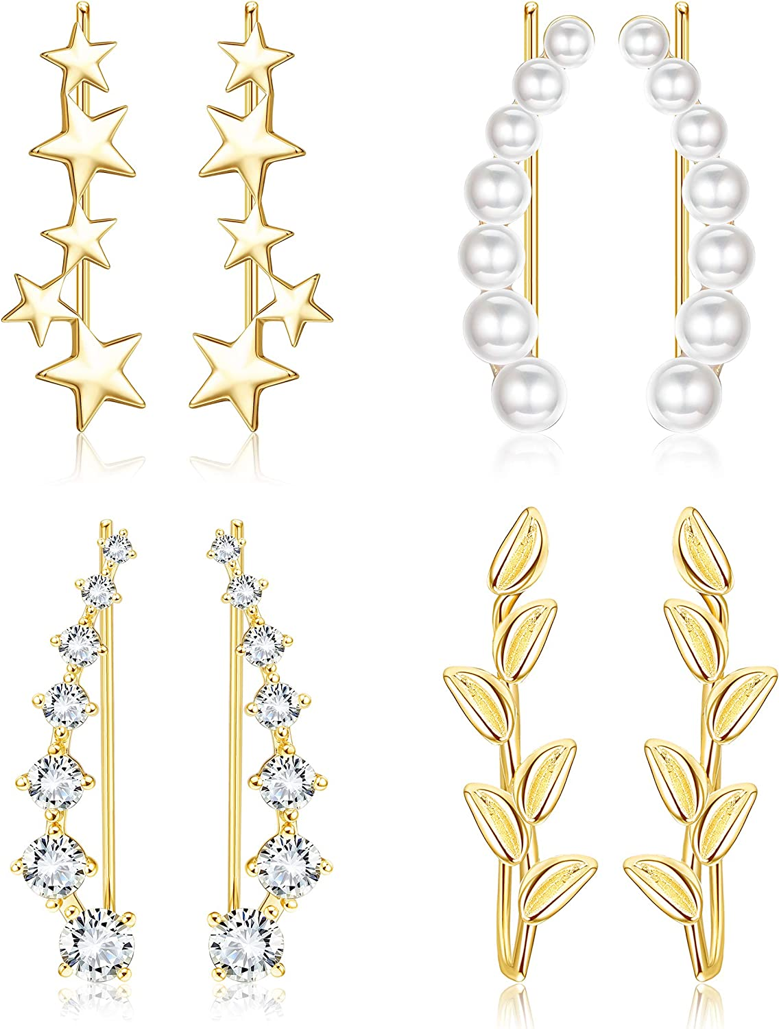 Jstyle 4Pairs Ear Cuff Climbers Earrings for Women CZ Inlaid Pearl Leaf Star Ear Crawlers Earring Set