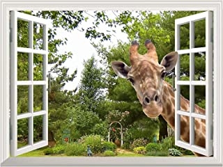 Wall26 Creative Wall Sticker - A Curious Giraffe Sticking Its Head into an Open Window | Cute & Funny Wall Mural - 36