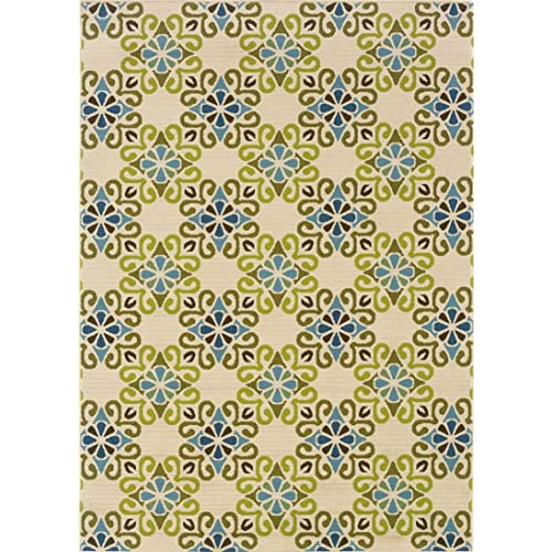 5x6 Outdoor Rug Blue Brown Floral Amazon Com