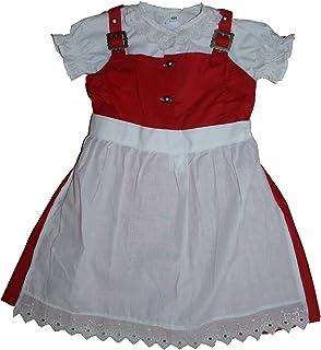 German Wear 3-TLG Kinder Dirndl Mädchendirndl Dirndlbluse dirndlschürze Kleid Rot/Weiss