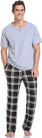 Vlazom Men's Pyjama Sets Cotton Super Soft Pjs Sets Stripe Short Sleeve Shirt and Solid Pants with Pockets for Sleepwear Loungewear