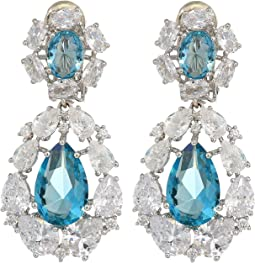 Small CZ Cluster Teardrop Clip Earrings
