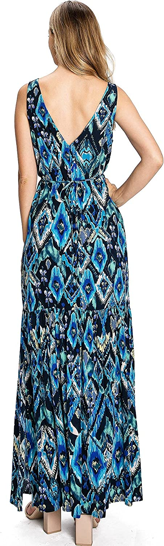 Love Stitch Women's Pluning Boho Slim A-Line Maxi Dress
