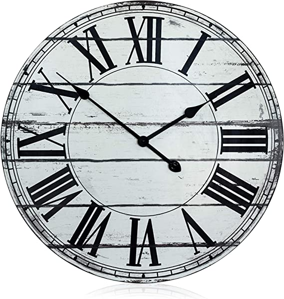 Nora Lane LLC Oversized 24 Rustic White And Black Decorative Wall Clock
