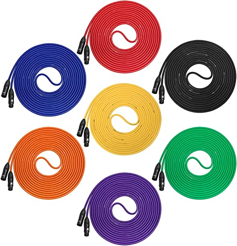 2021 LyxPro Cable sale Pack new arrival LCS Premium Series 7-Pack Multi Color 15 ft XLR Microphone Cables for Professional Microphones and Devices outlet online sale
