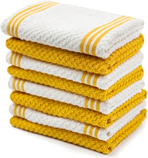 Sticky Toffee Cotton Terry Kitchen Dishcloth, Yellow, 8 Pack, 12 in x 12 in